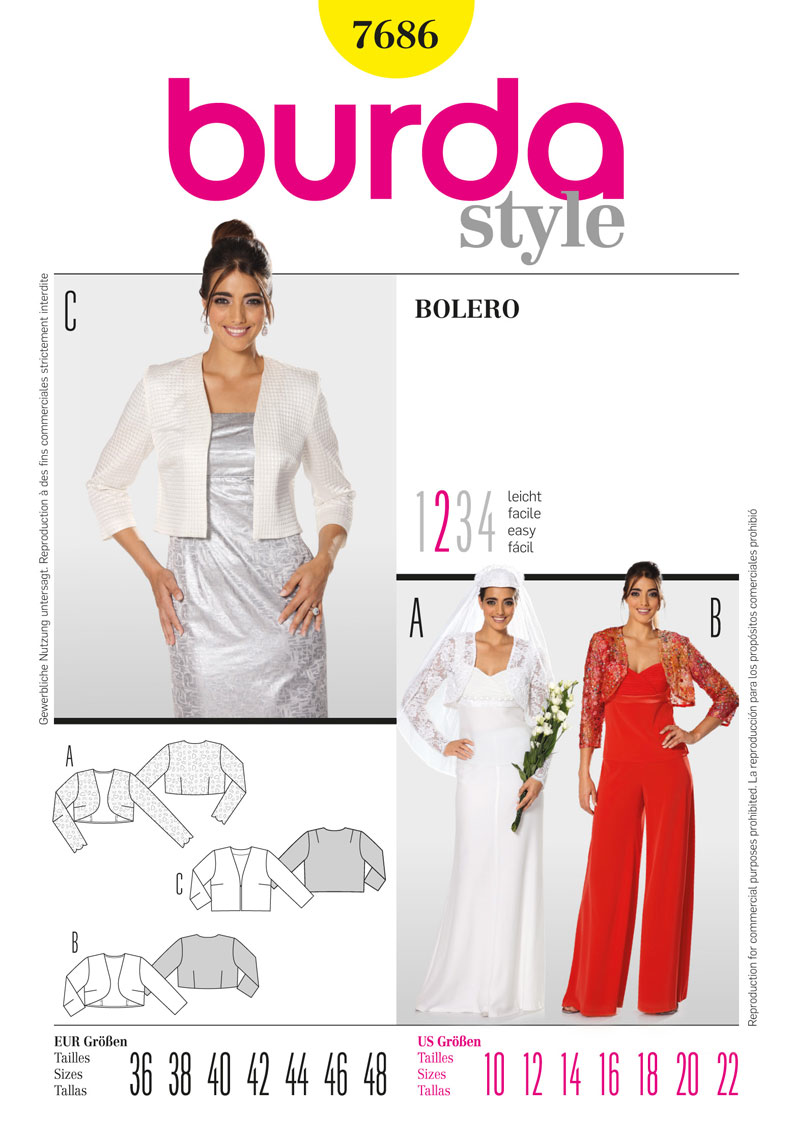 Burda Pattern: BD7686 Misses Bolero | Easy — jaycotts.co.uk - Sewing ...