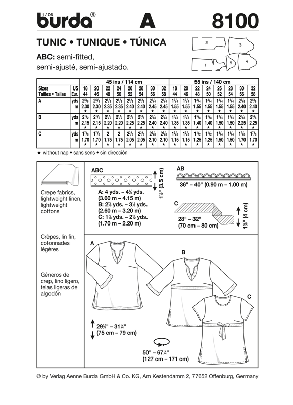 BD8100 Misses' Tunic | Very Easy from Jaycotts Sewing Supplies