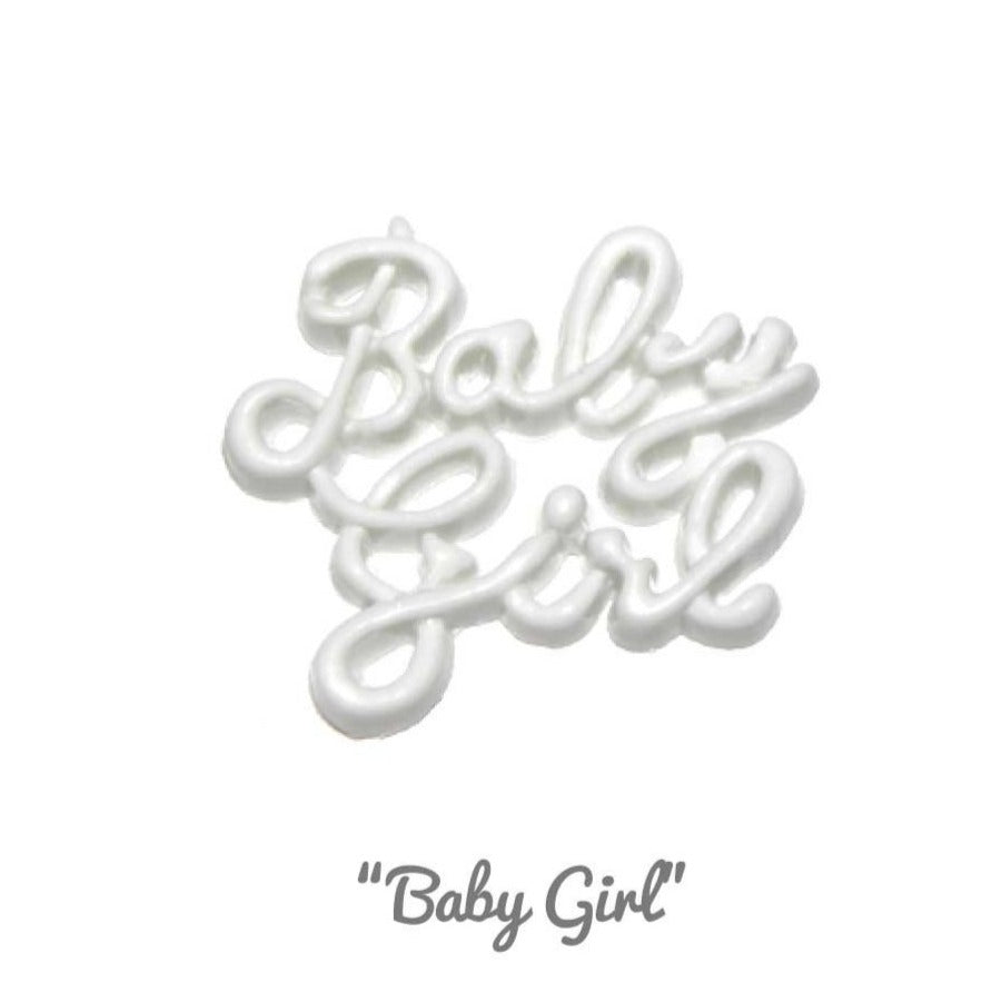 Buttons: Novelty #05 'Baby Girl' - White from Jaycotts Sewing Supplies