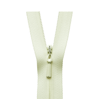 YKK concealed zips in ivory colour