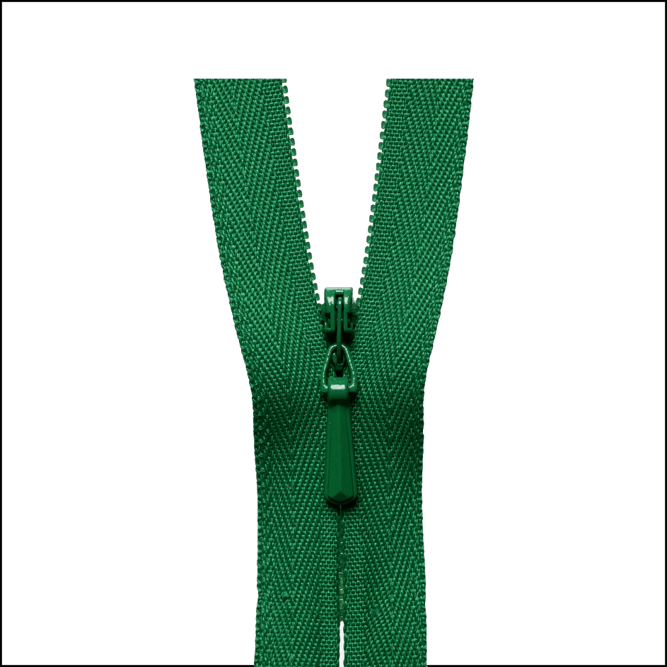 Colour 540 bright green YKK concealed zip