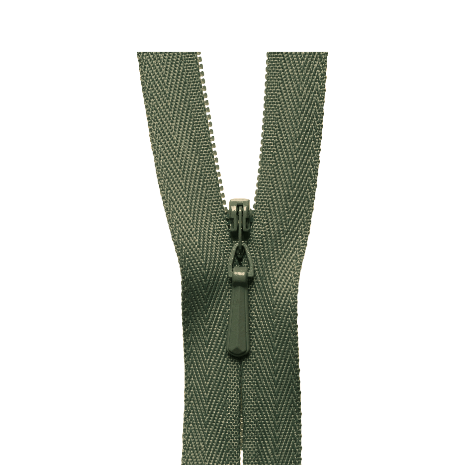 Khaki green ykk concealed zips at Jaycotts