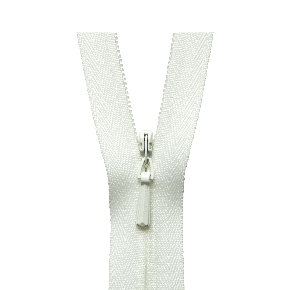 """Zips No.3 nylon concealed closed end zippers in white 9/"""" 9 inch"""