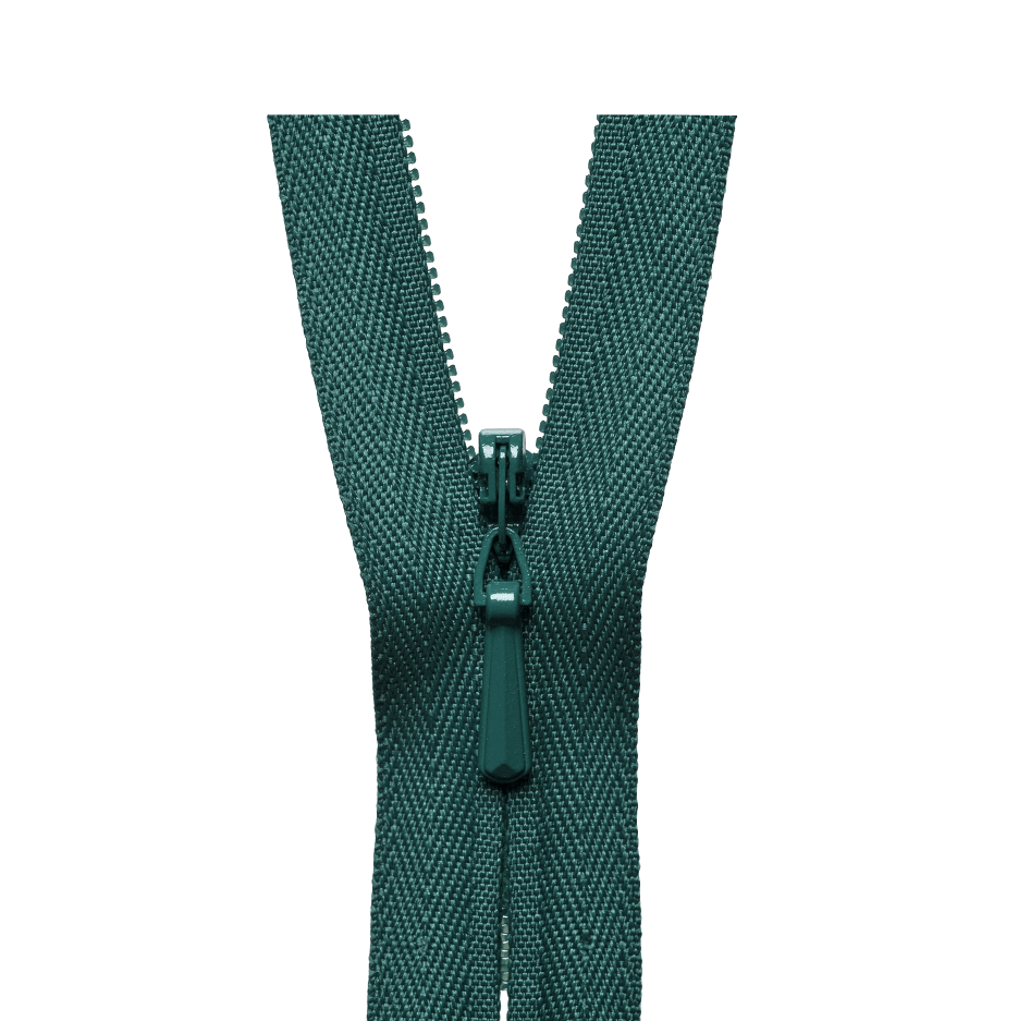 YKK concealed zips bottle green colour