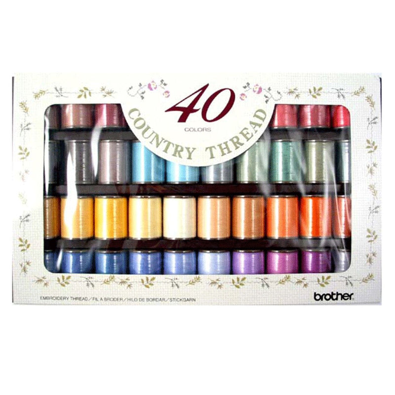 Brother Country Embroidery Thread - Box of 40 Reels from Jaycotts Sewing Supplies