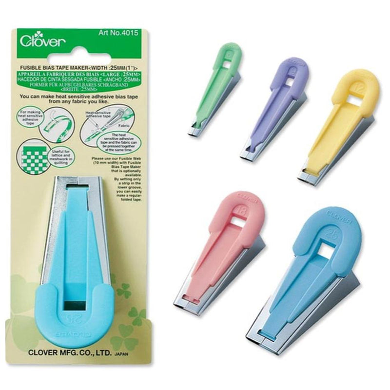 Clover Fusible Bias Tape Makers available in 5 size options from Jaycotts