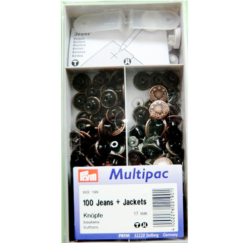 Jeans Buttons Antique Copper 17mm (Non-Sew): Pack of 100