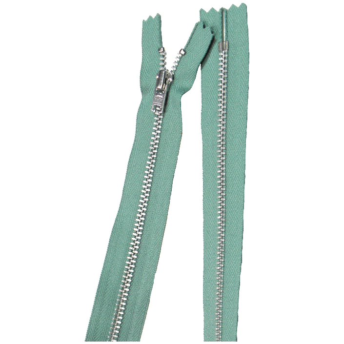 YKK silver tooth Metal Dress Zips - Sage from Jaycotts Sewing Supplies
