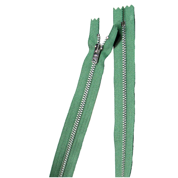 YKK silver tooth Metal Dress Zips - mid green