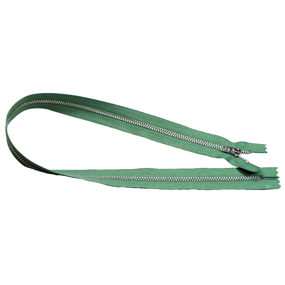 YKK silver tooth Metal Dress Zips - mid green from Jaycotts Sewing Supplies