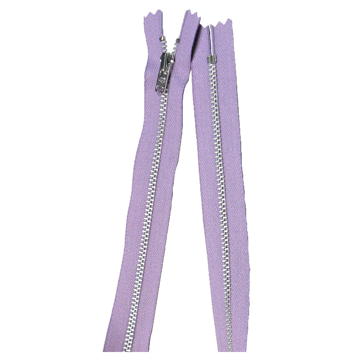 YKK silver tooth Metal Dress Zips - lilac