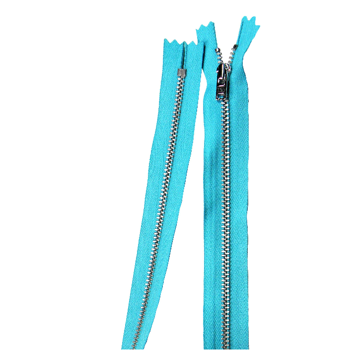 YKK silver tooth Metal Dress Zips - turquoise from Jaycotts Sewing Supplies