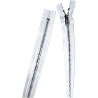 YKK silver tooth Metal Dress Zips - white from Jaycotts Sewing Supplies