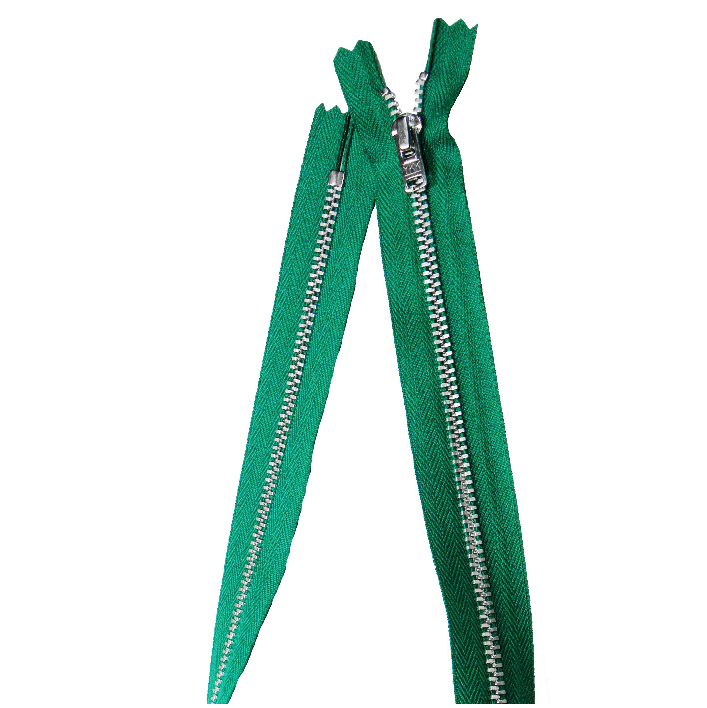 YKK silver tooth Metal Dress Zips - Bright Green