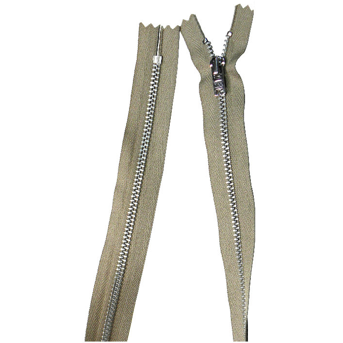 YKK silver tooth Metal Dress Zips - Beige