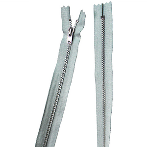 YKK silver tooth Metal Dress Zips - Light Grey from Jaycotts Sewing Supplies