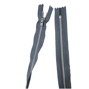 YKK silver tooth Metal Dress Zips - Mid Grey