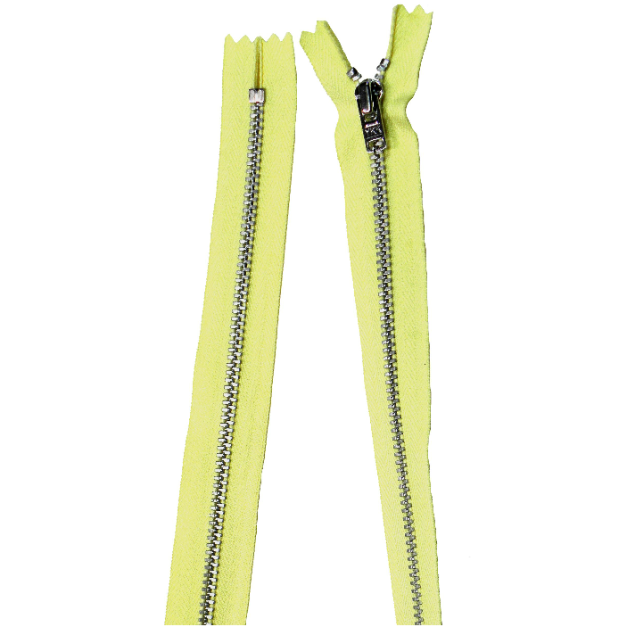 YKK silver tooth Metal Dress Zips - Lemon Yellow from Jaycotts Sewing Supplies