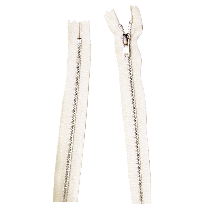 YKK silver tooth Metal Dress Zips - Natural from Jaycotts Sewing Supplies