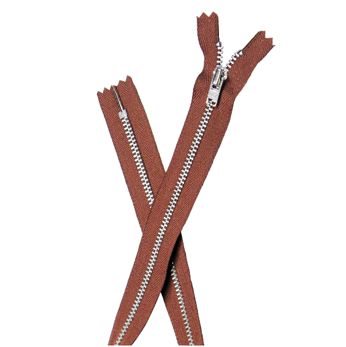 YKK silver tooth Metal Dress Zips - Mid Brown from Jaycotts Sewing Supplies
