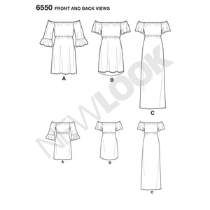 NL6550 Women's Off Shoulder Dress Pattern