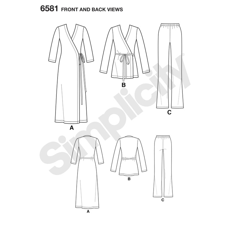 NL6581 Wrap Top / tunic and pants sewing pattern