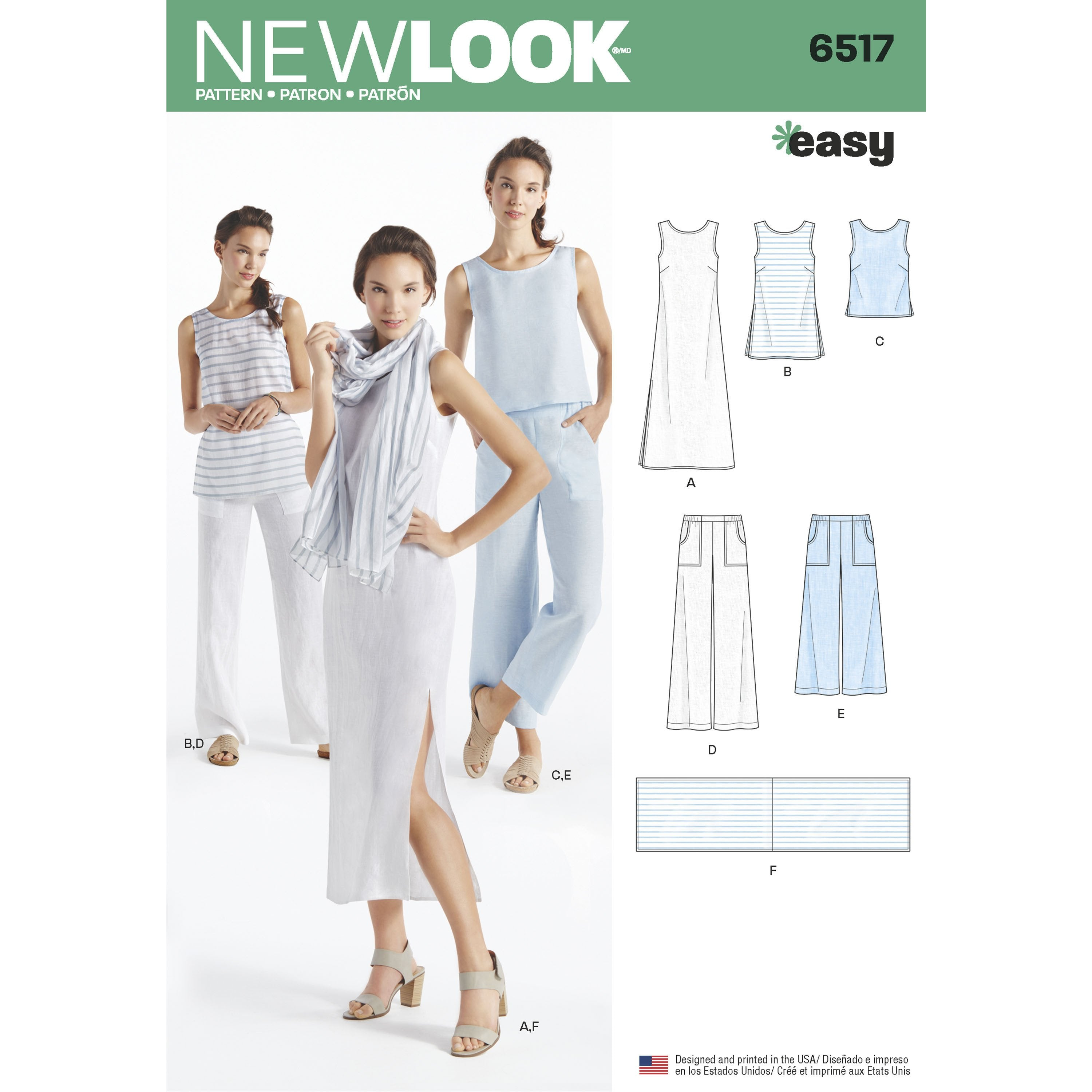 NL6517 Dress, Tunic, Top, Pants and Scarf