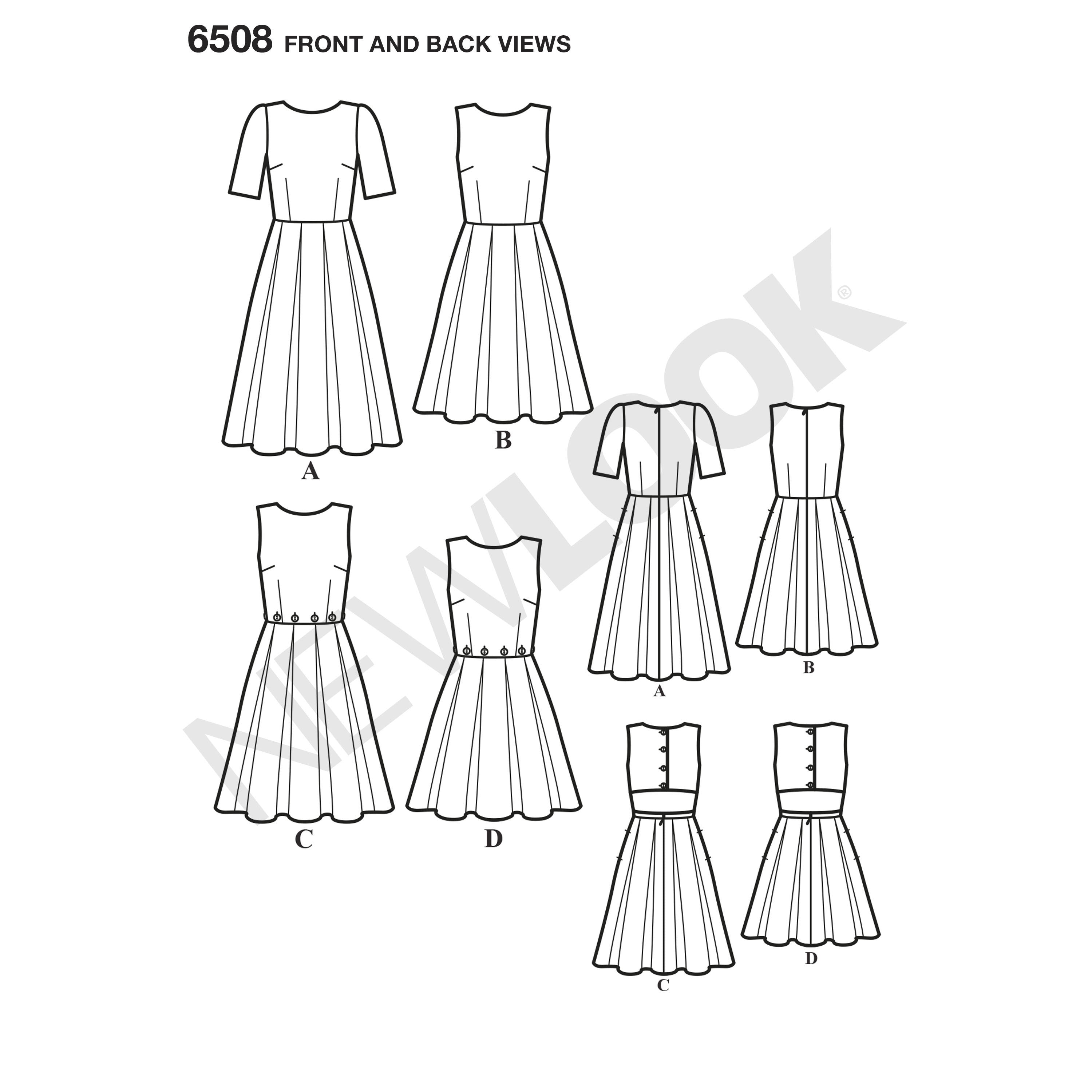 NL6508 Dress with Open or Closed Back Variations
