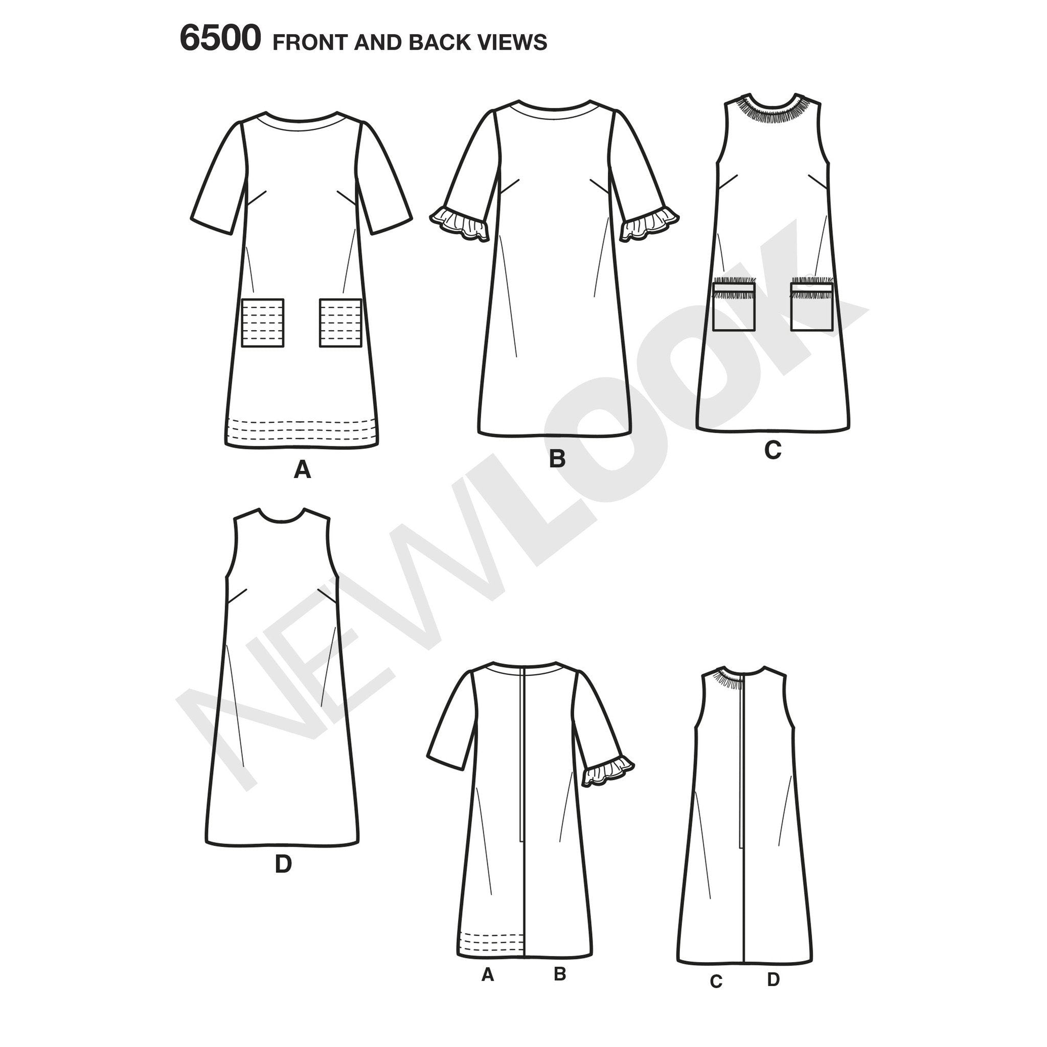 NL6500 Dress with Neckline, Sleeve, and Pocket Variations