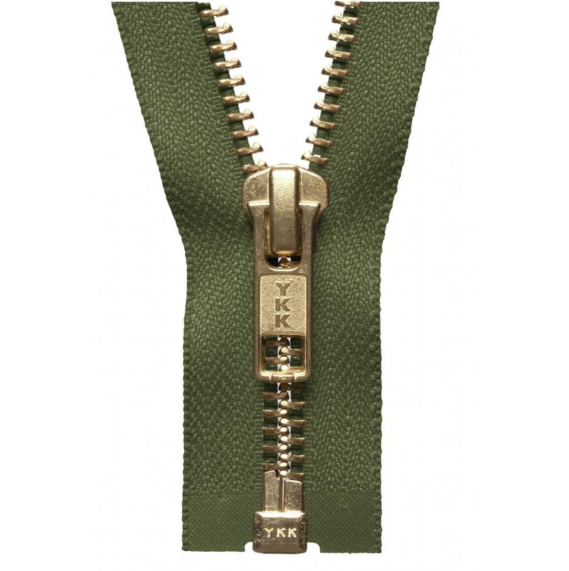 YKK Open End Zip Gold Teeth | Khaki Green from Jaycotts Sewing Supplies