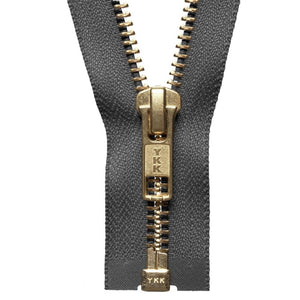 YKK Open End Zip Gold Teeth | Grey