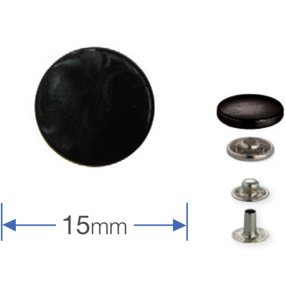 Press Studs (Non-Sew) - Black 15mm: Pack of 10
