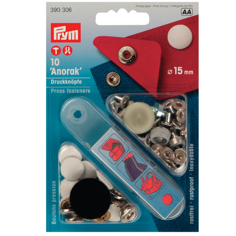 Prym 390306 metal Press Fasteners in White 15mm size