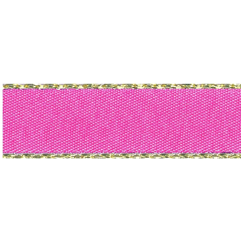 Berisfords Gold edge Ribbon - Shocking Pink | 20m roll from Jaycotts Sewing Supplies