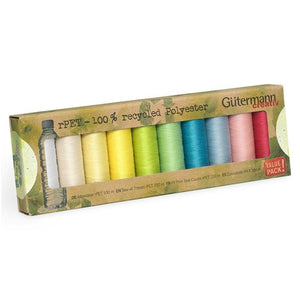 Gutermann Recycled Thread Light Set | 10 reels from Jaycotts Sewing Supplies