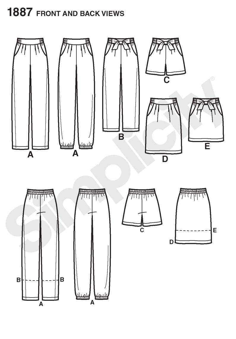 Simplicity Pattern 1887 shorts and skirt from Jaycotts Sewing Supplies