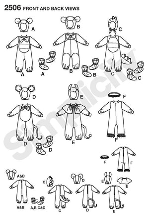 Simplicity Pattern 2506 Toddler Animal Costumes