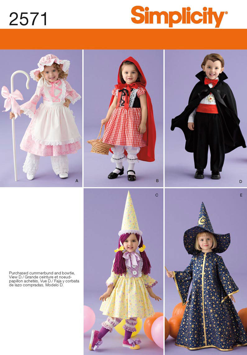 Simplicity Pattern 2571 Toddler Fancy Dress Costumes