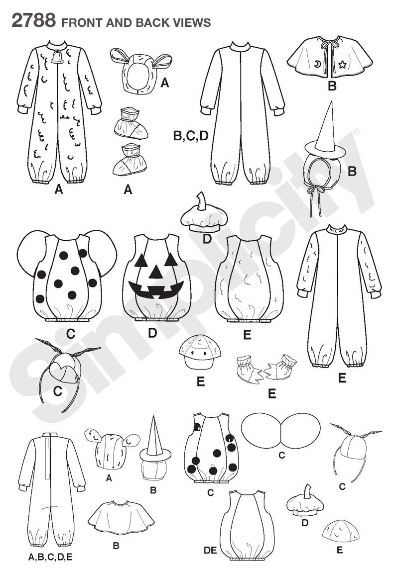 Simplicity Pattern 2788 Toddler Halloween Costumes from Jaycotts Sewing Supplies