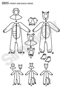Simplicity 2855 Child's animal costume pattern.