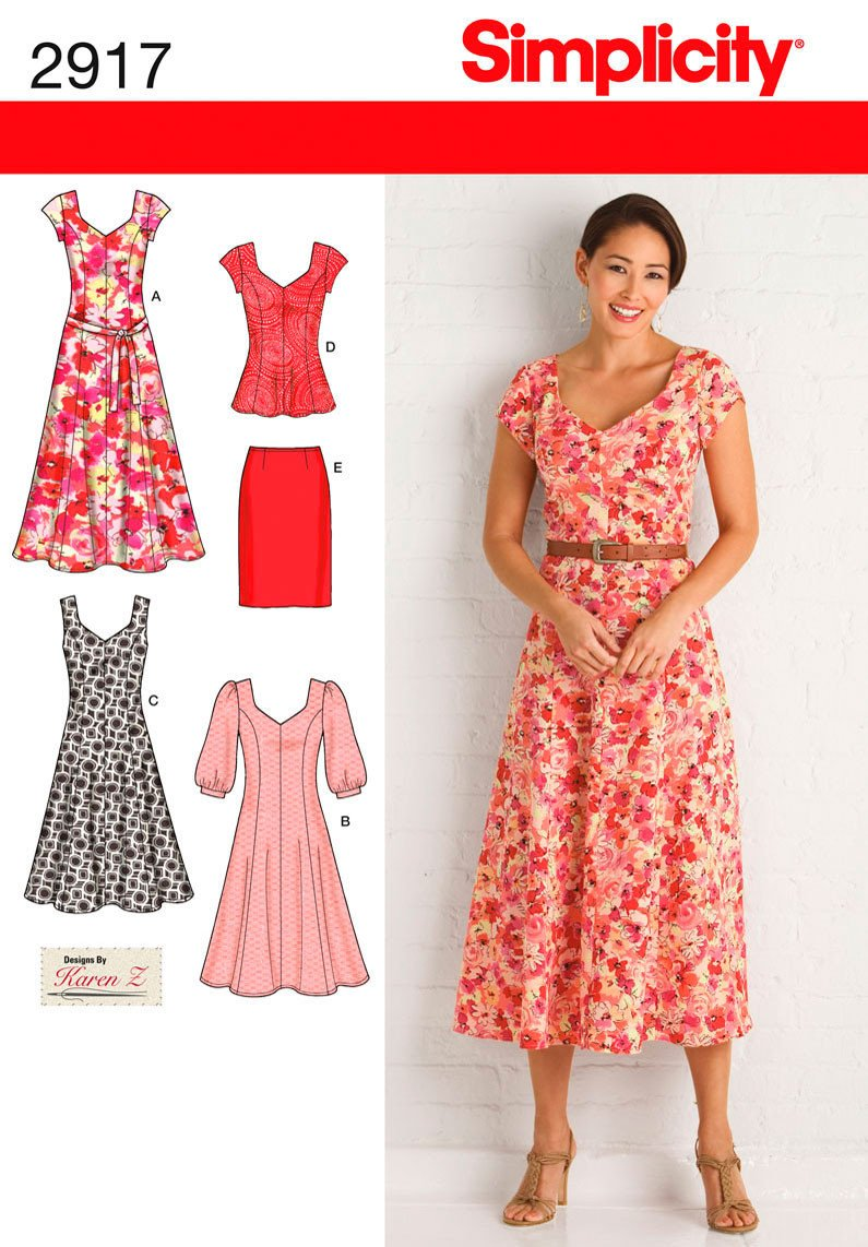 simplicity pattern s2917 misses 39 plus size dresses. Black Bedroom Furniture Sets. Home Design Ideas