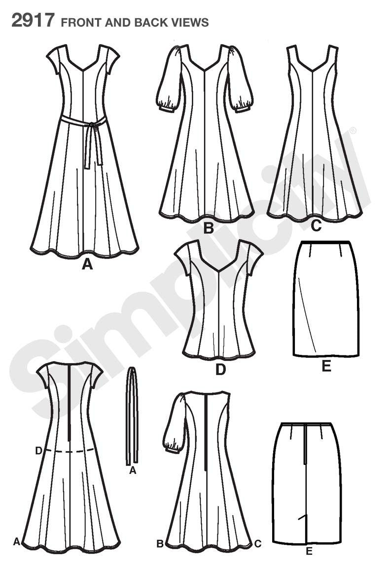 Simplicity Pattern 2917 Misses' & Plus Size Dresses from Jaycotts Sewing Supplies