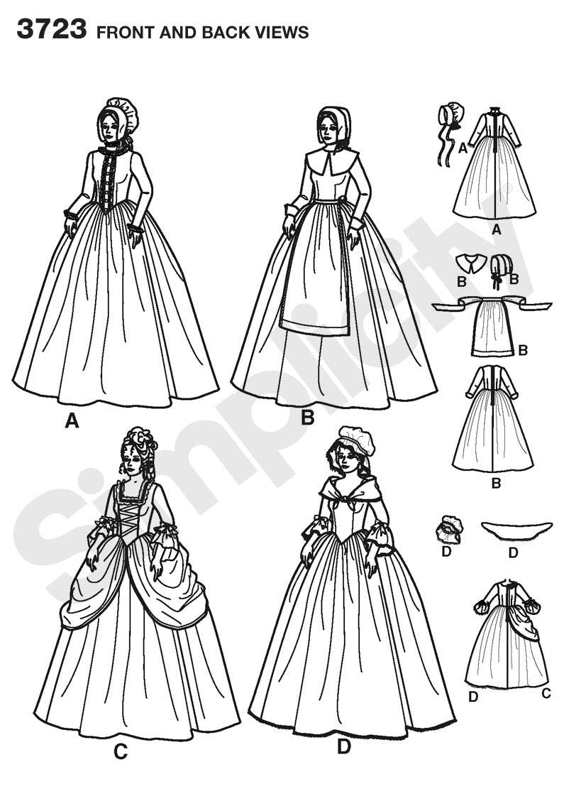 Simplicity 3723 18th/19th century long dresses pattern from Jaycotts Sewing Supplies