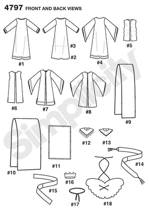 Simplicity Pattern 4797 Boys' and Girls' Nativity Costumes.
