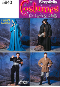 Simplicity Pattern 5840  Unisex Hooded Capes and Mens Fantasy Costumes.
