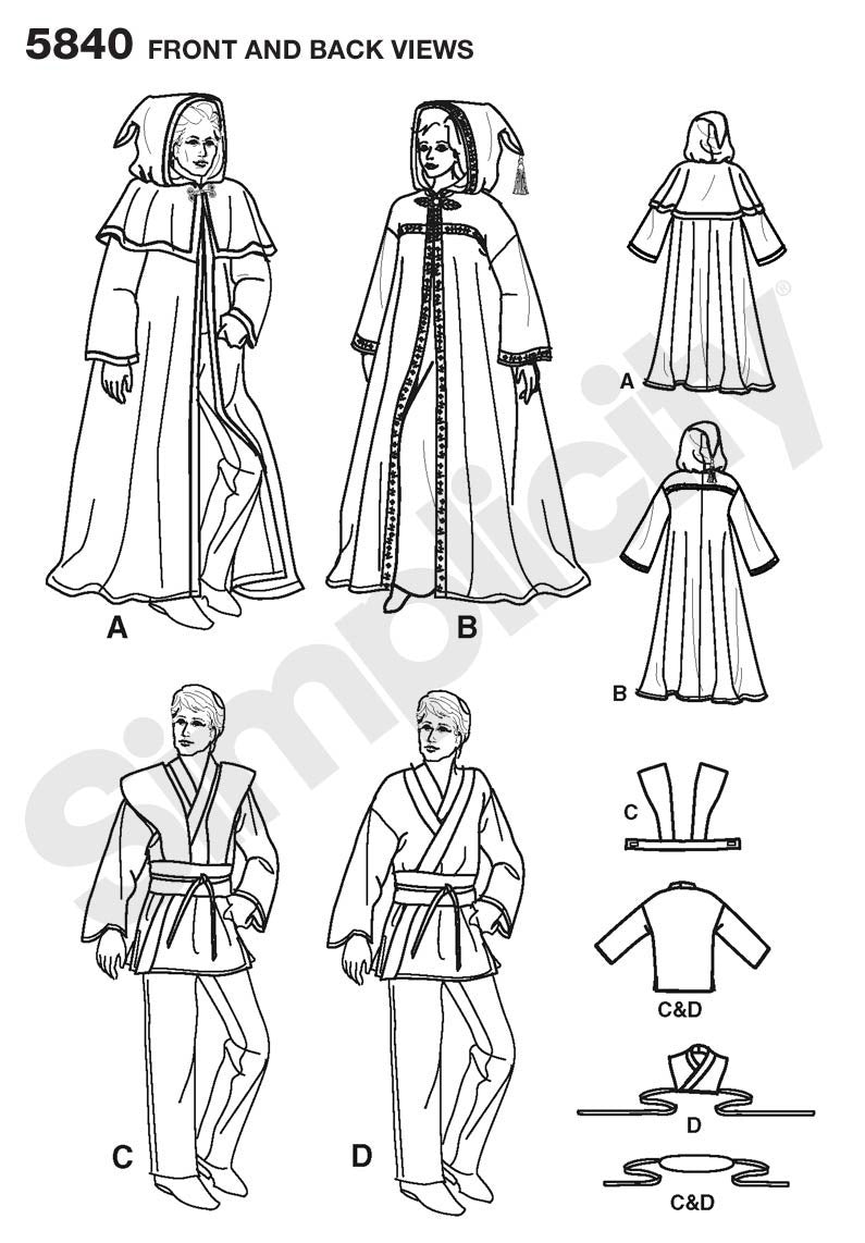Simplicity Pattern 5840  Unisex Hooded Capes and Mens Fantasy Costumes. from Jaycotts Sewing Supplies