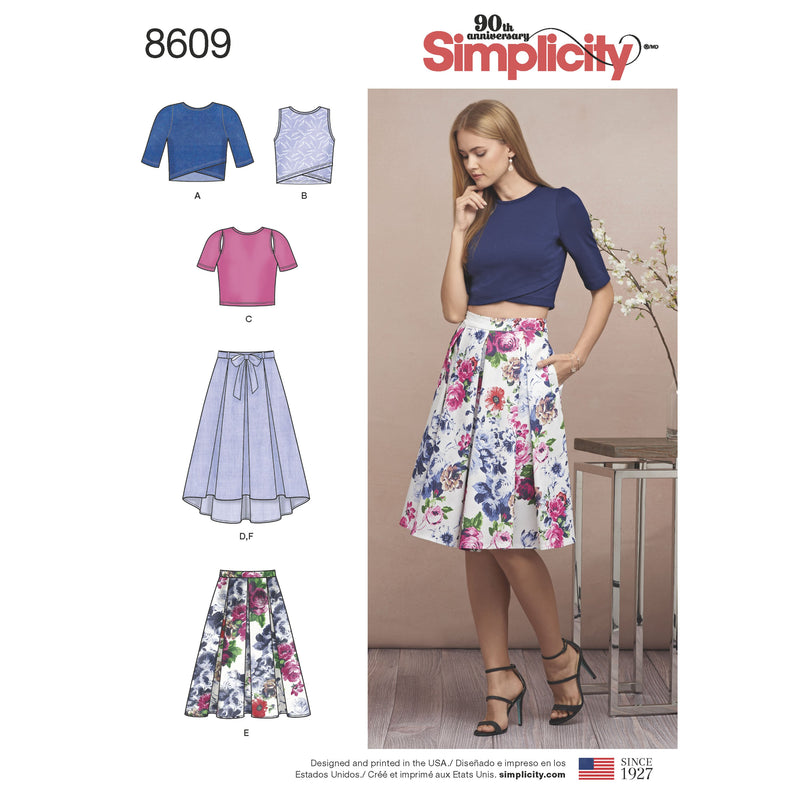 Simplicity Pattern 8609 skirts and knit tops