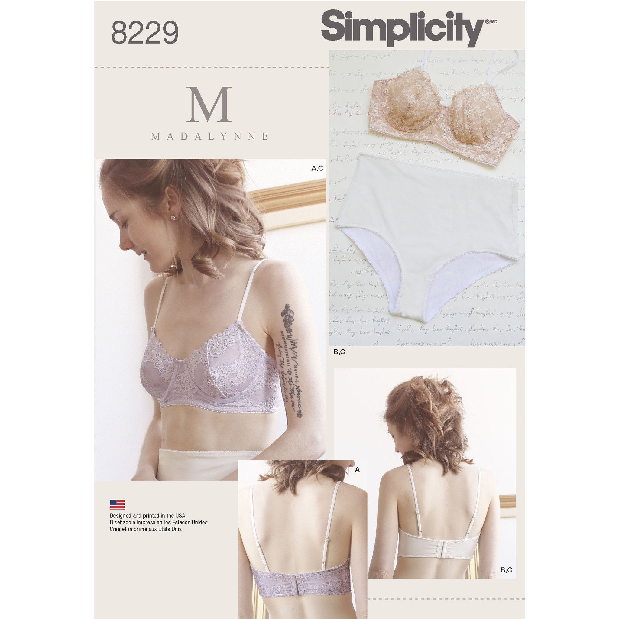Simplicity S8229 Misses' Underwire Bras and Panties