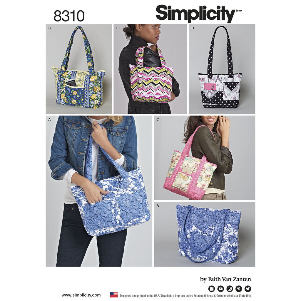 Simplicity Pattern 8310 quilted bags in three-sizes from Jaycotts Sewing Supplies