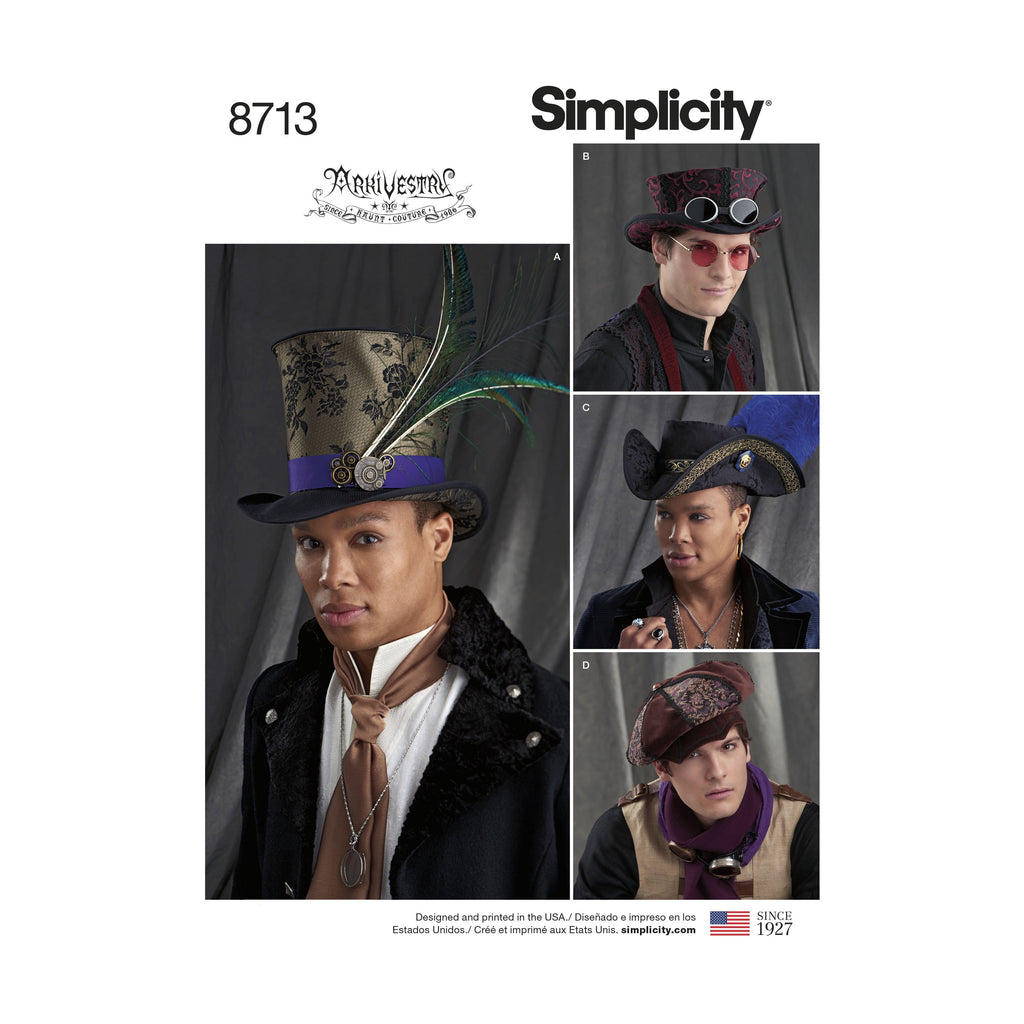 Simplicity Pattern 8713 Men's Artivestry hats